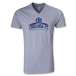 Chelsea FC Distressed V-Neck T-Shirt (Gray)