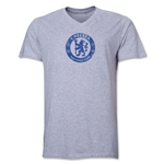 Chelsea Distressed Emblem V-Neck T-Shirt (Gray)