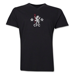Chelsea Distressed Retro V-Neck T-Shirt (Black)