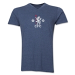 Chelsea Distressed Retro V-Neck T-Shirt (Heather Navy)
