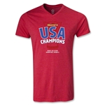 USA CONCACAF Gold Cup 2013 Champions V-Neck T-Shirt (Heather Red)