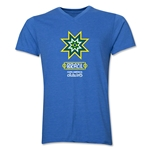 Brazil Copa America 2015 Banderas V-Neck T-Shirt (Heather Royal)