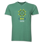 Brazil Copa America 2015 Banderas V-Neck T-Shirt (Heather Green)