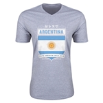 Argentina Copa America 2015 Shield V-Neck T-Shirt (Grey)