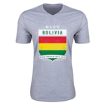 Bolivia Copa America 2015 Shield V-Neck T-Shirt (Grey)