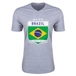 Brazil Copa America 2015 Shield V-Neck T-Shirt (Grey)