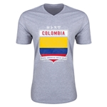 Colombia Copa America 2015 Shield V-Neck T-Shirt (Grey)