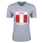 Peru Copa America 2015 Shield V-Neck T-Shirt (Grey)