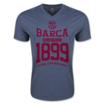Barcelona Distressed V Neck T-Shirt (Heather Navy)