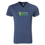 2014 FIFA World Cup Brazil(TM) Landscape Emblem V-Neck T-Shirt (Heather Navy)