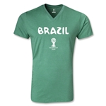 Brazil 2014 FIFA World Cup Brazil(TM) Core V-Neck T-Shirt (Heather Green)