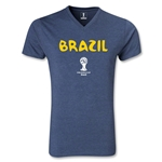 Brazil 2014 FIFA World Cup Brazil(TM) Core V-Neck T-Shirt (Heather Navy)