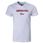 Germany 2014 FIFA World Cup Brazil(TM) Men's Palm V-Neck T-Shirt (White)