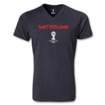 Switzerland 2014 FIFA World Cup Brazil(TM) Men's Core V-Neck T-Shirt (Heather Grey)