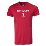 Switzerland 2014 FIFA World Cup Brazil(TM) Men's Core V-Neck T-Shirt (Heather Red)
