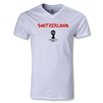 Switzerland 2014 FIFA World Cup Brazil(TM) Men's Core V-Neck T-Shirt (White)