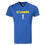 Ecuador 2014 FIFA World Cup Brazil(TM) Men's Core V-Neck T-Shirt (Heather Royal)
