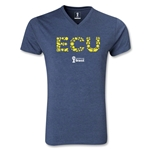 Ecuador 2014 FIFA World Cup Brazil(TM) Men's Elements V-Neck T-Shirt (Heather Navy)