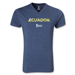 Ecuador 2014 FIFA World Cup Brazil(TM) Men's Palm V-Neck T-Shirt (Heather Navy)