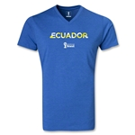 Ecuador 2014 FIFA World Cup Brazil(TM) Men's Palm V-Neck T-Shirt (Heather Royal)