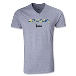 Ecuador 2014 FIFA World Cup Brazil(TM) Men's Palm V-Neck T-Shirt (Grey)