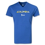 Colombia 2014 FIFA World Cup Brazil(TM) Men's Palm V-Neck T-Shirt (Heather Royal)