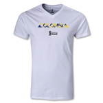 Colombia 2014 FIFA World Cup Brazil(TM) Men's Palm V-Neck T-Shirt (White)
