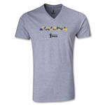 Colombia 2014 FIFA World Cup Brazil(TM) Men's Palm V-Neck T-Shirt (Grey)
