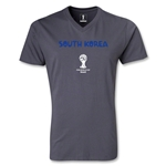 South Korea 2014 FIFA World Cup Brazil Men's Core V-Neck T-Shirt (Dark Gray)