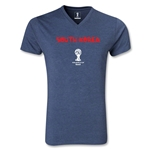 South Korea 2014 FIFA World Cup Brazil Men's Core V-Neck T-Shirt (Heather Navy)
