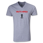 South Korea 2014 FIFA World Cup Brazil Men's Core V-Neck T-Shirt (Gray)