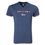 South Korea 2014 FIFA World Cup Brazil Men's Palm V-Neck T-Shirt (Heather Navy)
