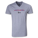 South Korea 2014 FIFA World Cup Brazil Men's Palm V-Neck T-Shirt (Gray)
