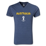 Australia 2014 FIFA World Cup Brazil Men's Core V-Neck T-Shirt (Heather Navy)