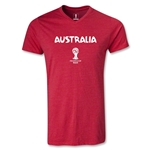 Australia 2014 FIFA World Cup Brazil Men's Core V-Neck T-Shirt (Heather Red)