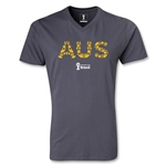 Australia 2014 FIFA World Cup Brazil Men's Elements V-Neck T-Shirt (Dark Gray)
