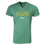Australia 2014 FIFA World Cup Brazil Men's Elements V-Neck T-Shirt (Heather Green)