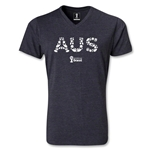 Australia 2014 FIFA World Cup Brazil Men's Elements V-Neck T-Shirt (Heather Gray)