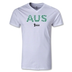 Australia 2014 FIFA World Cup Brazil Men's Elements V-Neck T-Shirt (White)