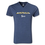 Australia 2014 FIFA World Cup Brazil Men's Palm V-Neck T-Shirt (Heather Navy)