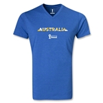 Australia 2014 FIFA World Cup Brazil Men's Palm V-Neck T-Shirt (Heather Royal)