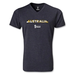 Australia 2014 FIFA World Cup Brazil Men's Palm V-Neck T-Shirt (Heather Gray)