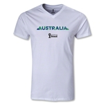 Australia 2014 FIFA World Cup Brazil Men's Palm V-Neck T-Shirt (White)