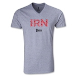 Iran 2014 FIFA World Cup Brazil Men's Elements V-Neck T-Shirt (Grey)