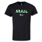 Iran 2014 FIFA World Cup Brazil Men's Palm V-Neck T-Shirt (Black)