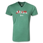 Iran 2014 FIFA World Cup Brazil Men's Palm V-Neck T-Shirt (Heather Green)