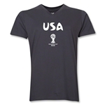 USA 2014 FIFA World Cup Brazil(TM) Men's Core V-Neck T-Shirt (Heather Grey)