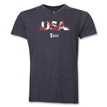 USA 2014 FIFA World Cup Brazil(TM) Men's Palm V-Neck T-Shirt (Dark Grey)