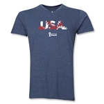USA 2014 FIFA World Cup Brazil(TM) Men's Palm V-Neck T-Shirt (Heather Navy)