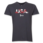 USA 2014 FIFA World Cup Brazil(TM) Men's Palm V-Neck T-Shirt (Heather Grey)